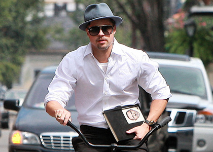 Brad Pitt Bike Rides With Obama