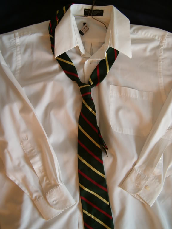 white dress shirt with tie