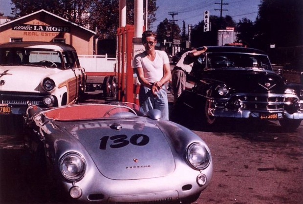Driving a sports car james dean style icon
