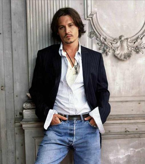 Johnny Depp wearing white dress shirt
