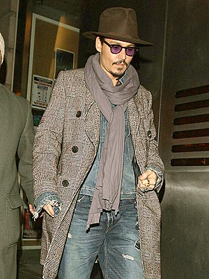 Johnny Depp sporting winter wardrobe scarf